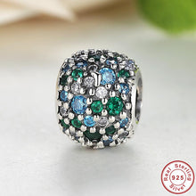 Charms Fit Pandora Original Bracelet Sterling 925 Silver Ocean Mosaic Pave, Mixed Green CZ & Green Crystal Beads S134
