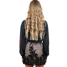 Floral Embroidery Mesh Scalloped Lace Mini Skirt Pencil Skirt