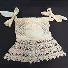 Sexy Off Shoulder Tie Sleeve Stripe Mesh Insert Floral Lace Blouse
