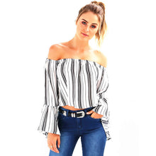 80'S Retro Strip Print Slash Neck Flare Sleeve Off Shoulder Blouse