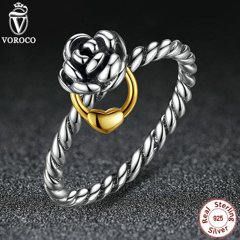 Genuine 925 Sterling Silver 14K Rose Flower Ring Silver 925 Compatible with VRC Original Luxury Jewelry A7113