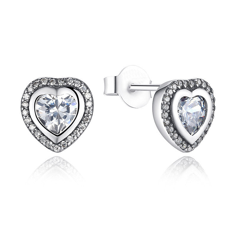 925 Sterling Silver One Love Stud Earrings Rose Gold & Clear CZ Earrings Compatible with VRC Women Fashion Jewelry S473