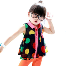 Girls Child Shirts Polka Dot Lapel Sleeveless Chiffon Party Tops Blouse  2-7Y
