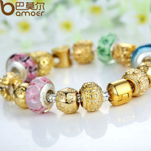 Gold Plated Charm Bracelet & Bangle for Women With Multicolor Murano Glass Beads DIY Birthday  A1810