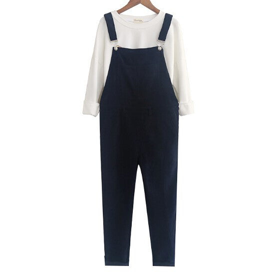 Mori Girl Pockets Corduroy Overalls Casual Loose Ankle-length Pants