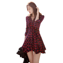 Long Sleeve Plaid Tartan Pattern Peplum Shirt Dress Size Plus
