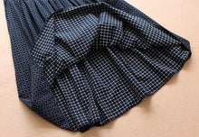 Mori Girl Vintage Cotton Preppy Style Elastic Plaid A-line Mid-calf Skirts