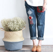 Mori Girl Vintage Embroidery Stitch Patchwork Elastic Denim Pants