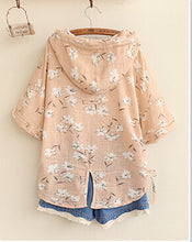 Mori Girl Flowers Print Linen Short Sleeve Drawstring Hooded Blouse