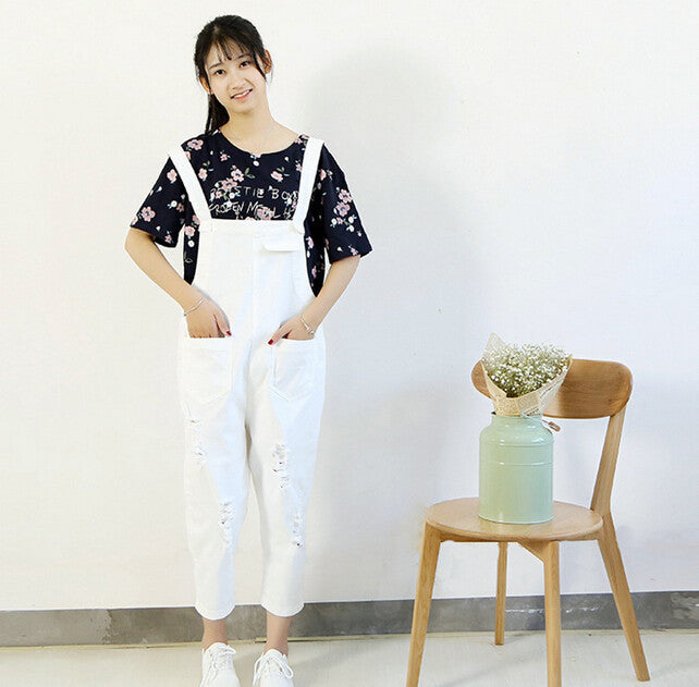 Mori Girl Hole Multi-pocket Overalls Casual Ankle-length Pants