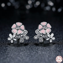 Hot Popular 925 Sterling Silver Pink & White Flower Stud Earrings for Women with Push-Back Clasp Arrival Earrings S435