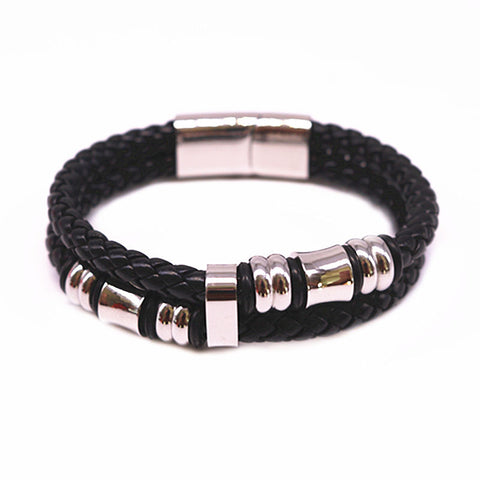 ! 20cm Fashion Stainless Steel Men Bracelet&bangles Genuine Leather Bracelets & Bangles Man Jewelry gift