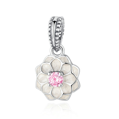 925 Sterling Silver Red Flower Charms Pendant with Crystals fit Pandora Women Bracelets Fashion Jewelry S318