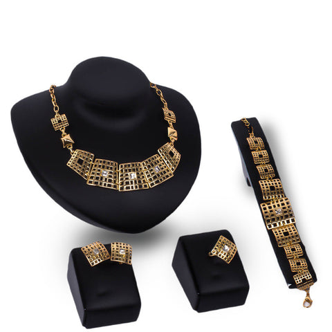 ! African Jewelry Set For Party Bridal Pendant Crystal Necklace Earrings Bracelet Ring Set Women Wedding Accessories