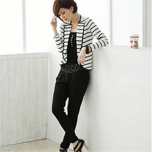 Slim Short Jacket Ladies White Striped Coat One Button Long Sleeve Outerwear Suit JacketsHG