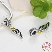 Jewelry Making Real 925 Sterling Silver Let Her Fly Gold Heart Wing Charms Fit Pandora Bracelet & Necklace S047