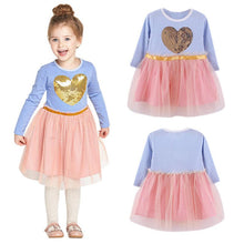 Kid Baby Girls Lace Party Dresses Long Sleeve 3D Heart Tulle Tutu Dress 2-7Y