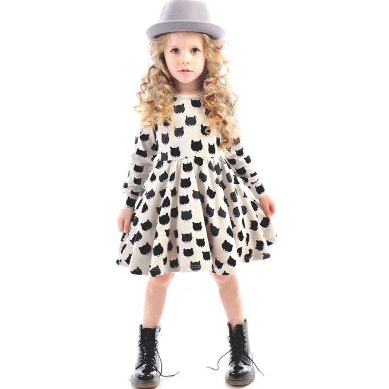 Kid Girls Cat Print Long Sleeve Dress Pleated One Piece Dress Sundress 2-6Y