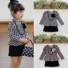 Kids Baby Girls Long Sleeve Houndstooth Necklace Flower Pageant Tutu Dress