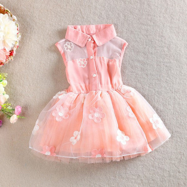 Kids Gilrs Chiffon Cute Floral Dress Princess One Piece Formal Party Dress 1-4Y