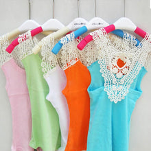 Kids Girls Crochet Hollow Out Floral Tops T Shirts Vest T-shirts Candy Color 0-3 Years