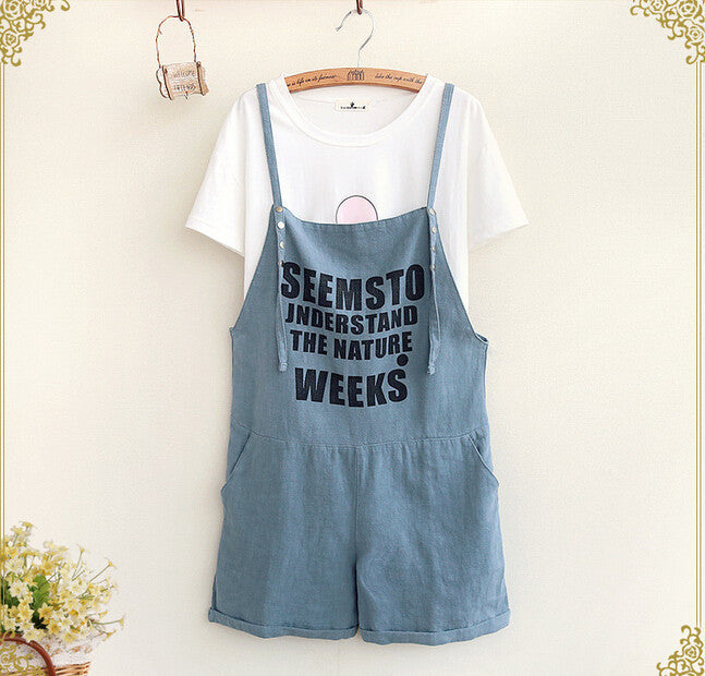 Mori Girl Letters Printed Cotton Mid Waist Linen Overalls Loose Shorts