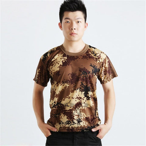 Camouflage Tactical Military Soldier Short Sleeve T-Shirt Quick Dry Tee Tops Asian L-XXXL