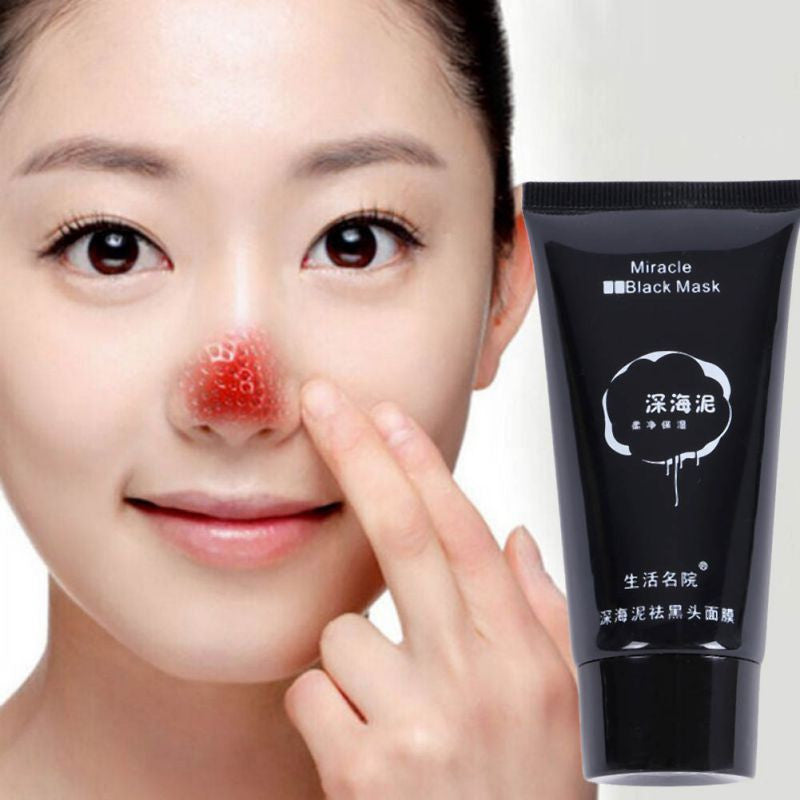 Miracle Black Mask Blackhead Remover Black Deep Sea Mud Deep Cleansing Purifying Peel Acne Face Mask