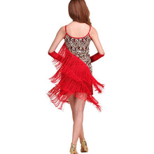 Sexy Flapper Sequined Fringed Dance Dress Ladies Rumba Latin Dress