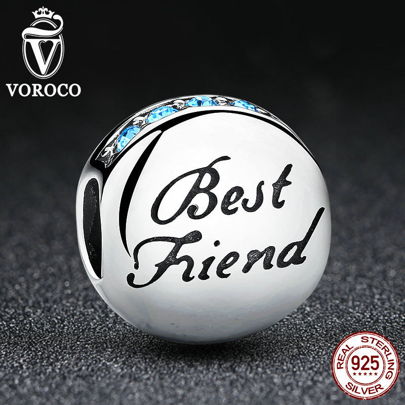 Fashion Real 925 Sterling Silver Best Friend Beads Charms fit Pandora Bracelets Necklace Friendship  C022