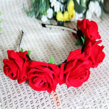 Rose Flower Garland Hair Head Band Crown For Bride Flower Girl 6 Colors