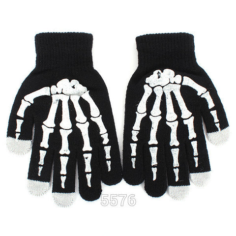 Style  Full Finger Unisex Ghost Bone Touch Screen Knit Skeleton Gloves