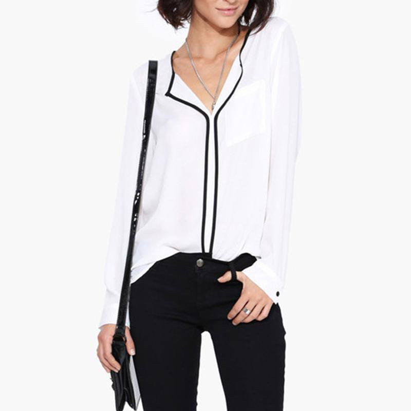 Style   Casual White Shirt Long Sleeve Black Side Chiffon Blouse V-neck Work Shirts