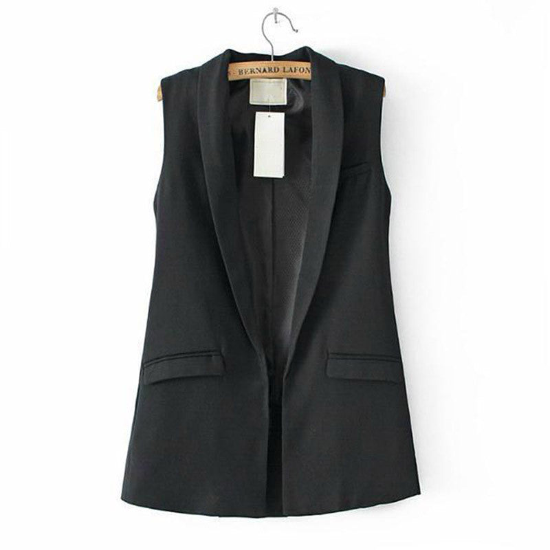 Sleeveless Formal Long Vest V Neck Blazers Suit One Button Jacket Coat