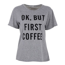 OK BUT FIRST COFFEE Printed Words Letter T Shirts Tops  Loose Vest Tee Shirt Tops