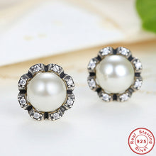 Original 925 Sterling Silver Everlasting Grace Stud Earrings Freshwater Cultured Pearl Women Jewelry Compatible with VRC 424