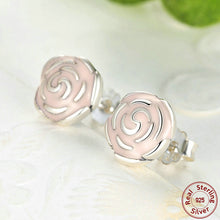 Original 925 Sterling Silver Rose Petal Garden Stud Earrings Pink Enamel Compatible with VRC Jewelry S401