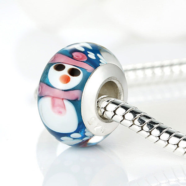 Original Silver Plated Snowman Murano Glass Bead Fit Pandora Bracelet Necklace Authentic Christmas Element