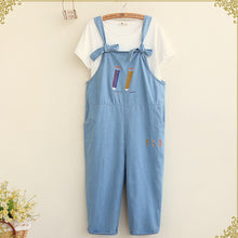 Pencil Embroidery Denim Overalls Loose Casual Ankle-length Pants