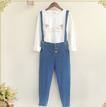 Mori Girl Removable Strap Denim Overalls Stripes Casual Jeans Pants