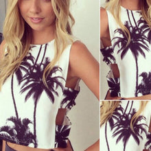 Sexy  Tops T-Shirt Nice Coconut tree Print Crop Top Sleeveless Crop Beach Club