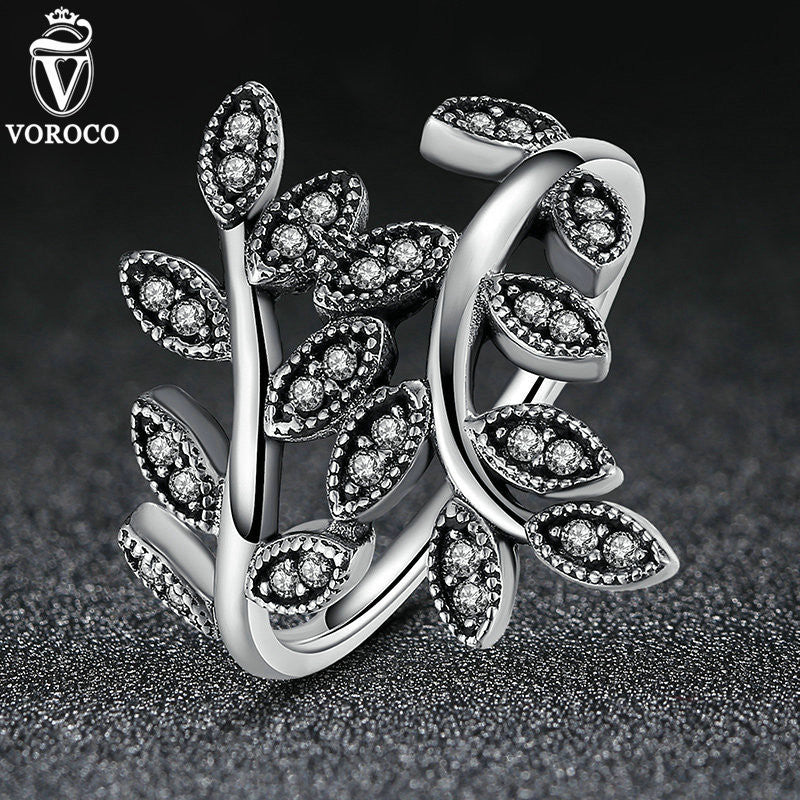 Silver Plated Sparkling LEAVES SILVER RING WITH CUBIC ZIRCONIA Rings Compatible with VRC Jewelry A7206