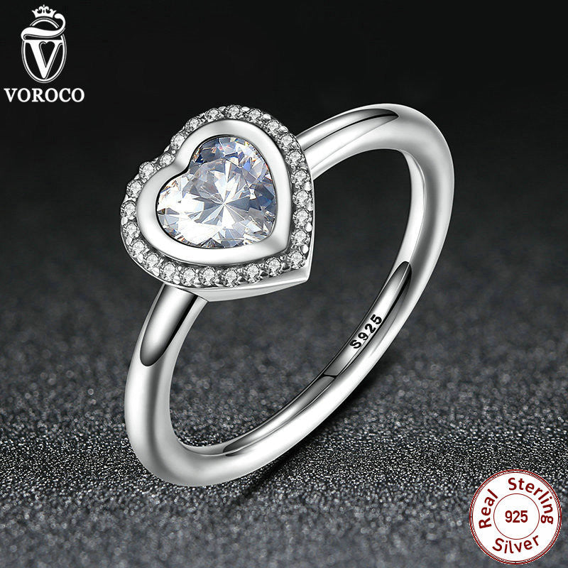 Spring Collection 925 Sterling Silver Sparkling Love Heart Ring, Clear CZ Ring Compatible with Original VRC Jewelry A7135