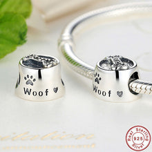 Sterling 925 Silver Woof Paw Prints and Bone Bead Charm Fit Pandora Bracelet & Necklace S087