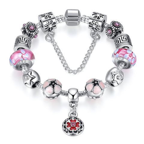 Summer Collection Flower Pendant Bracelet & Bangle 925 Silver With Authentic Glass Bead Party Jewelry A1845