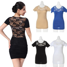 Sexy Hollow Round Neck Lace Short Sleeve Top T-shirt