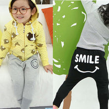 Toddler Kids Pants for Girls 1-6Y Smile Pattern Harem Pants Cotton Trousers Casual Bottoms Joggers