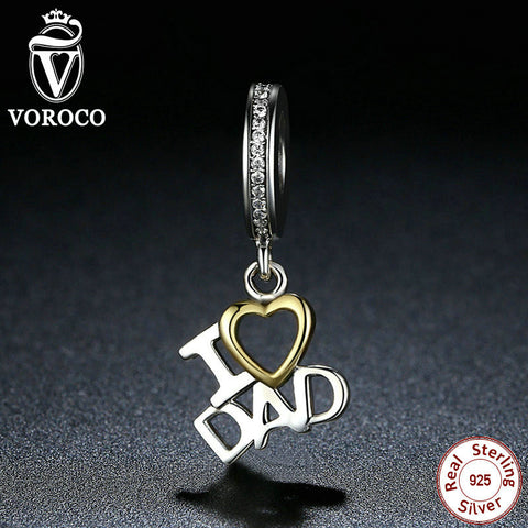I Love DAD Love Heart Pendants fit Pandora Charms Bracelets Beads