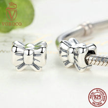 925 Sterling Silver Bow Knot Flower Clip Charms Fit VRC Women Bracelets & Necklace Fashion Jewelry C002