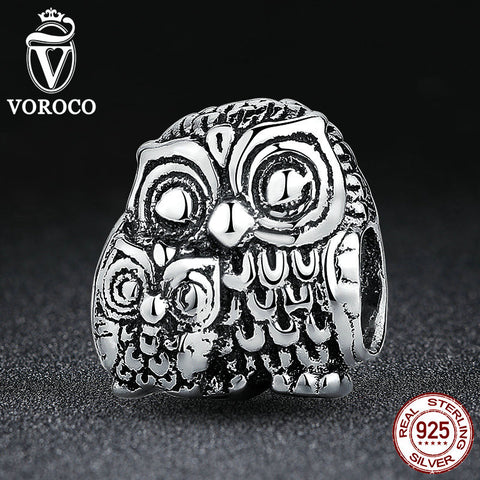 925 Sterling Silver Charming Owls Animal Screw Charms fit Pandora Bracelets Necklaces Beads & Jewelry Makings C036